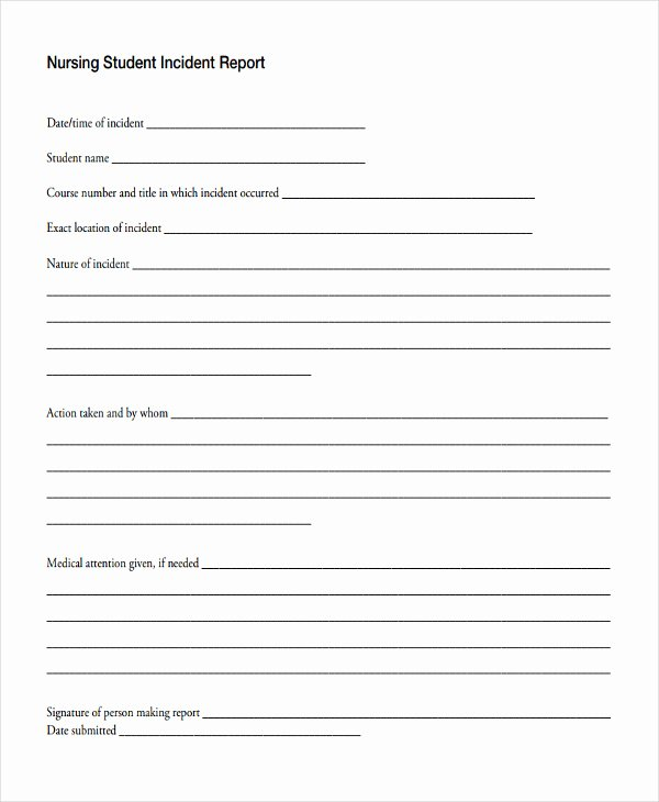 Incident Report Sample In Nursing Luxury 42 Free Incident Report Templates Pdf Word