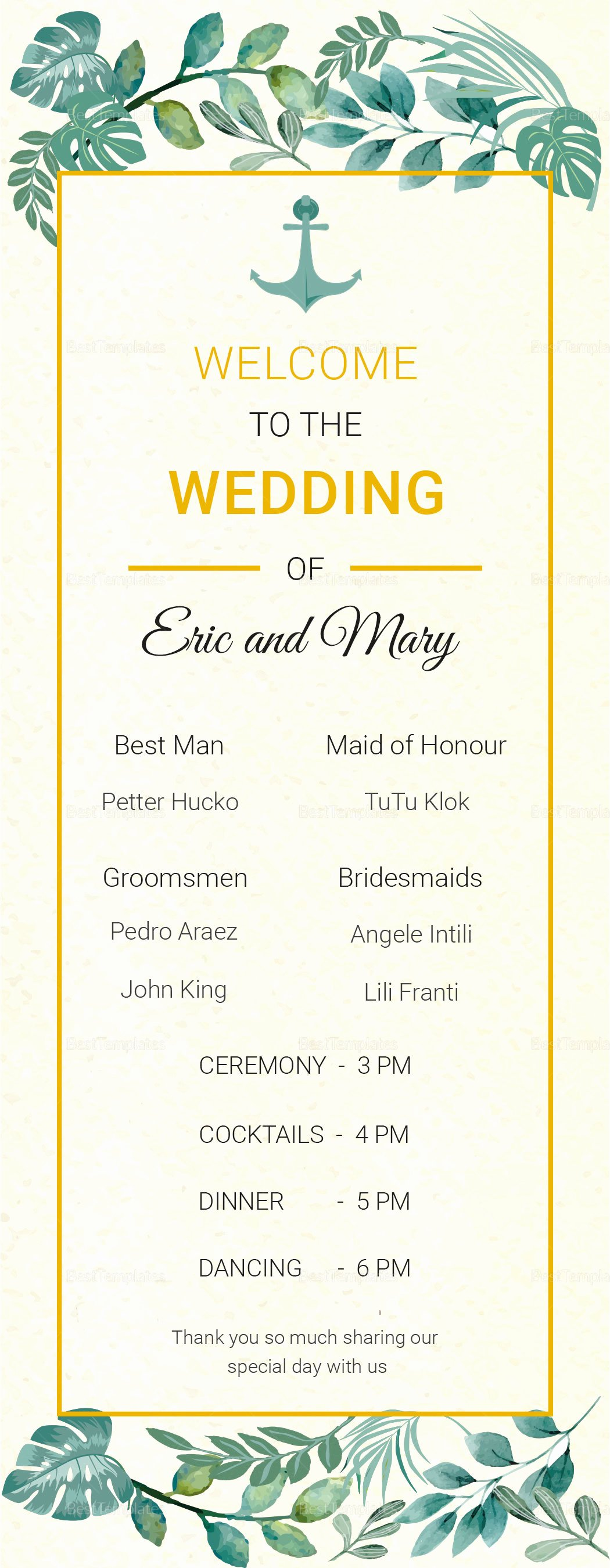Indesign Wedding Program Template Awesome Nautical Wedding Program Card Template In Psd Word Publisher Illustrator Indesign