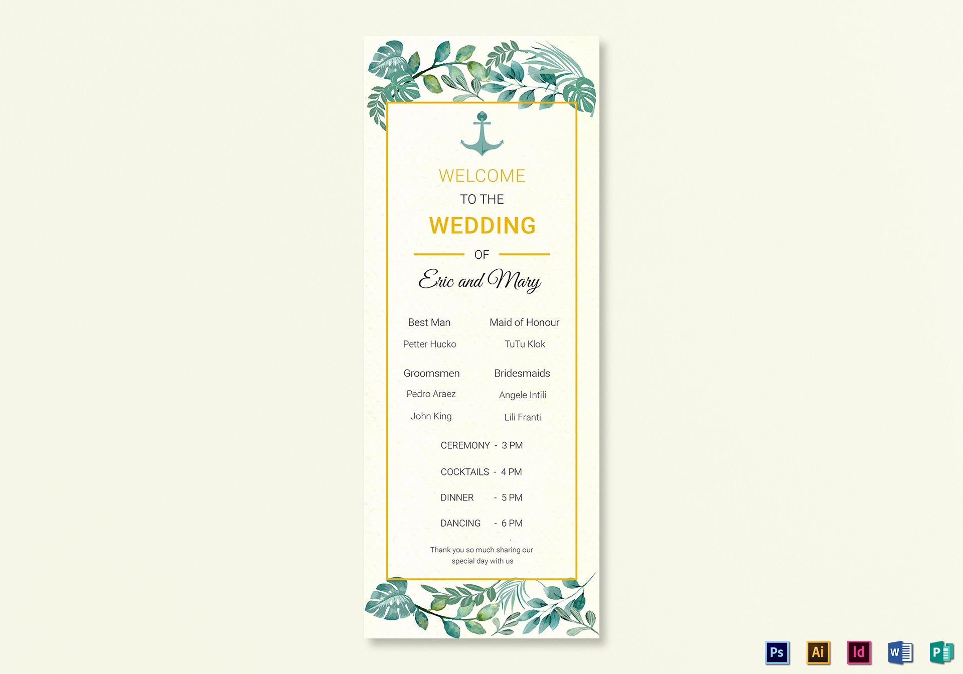 Indesign Wedding Program Template Beautiful Nautical Wedding Program Card Template In Psd Word Publisher Illustrator Indesign