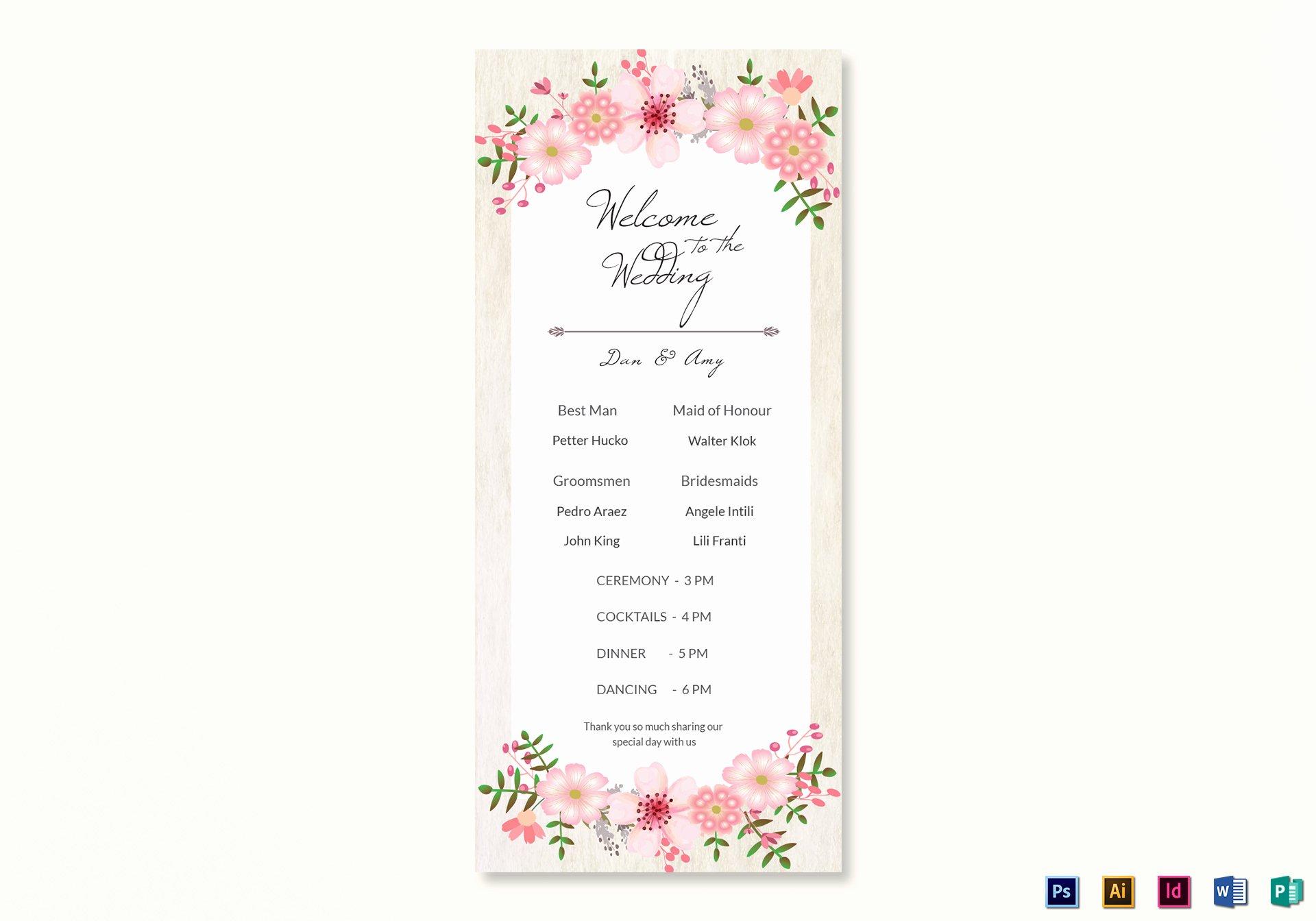 Indesign Wedding Program Template New Pink Floral Wedding Program Card Design Template In Psd Word Publisher Illustrator Indesign