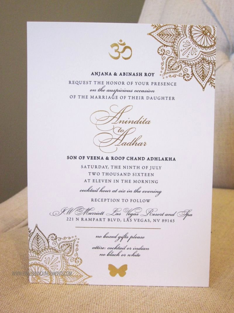 Indian Wedding Invitation Templates Awesome 5x7 Announcement Indian Wedding Gold Foil Invitation