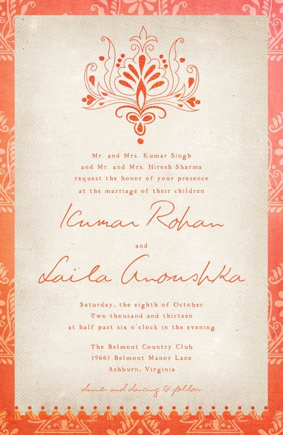 Indian Wedding Invitation Templates Fresh Indian Wedding Invitations the Laila Rustic by