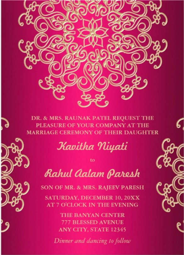 Indian Wedding Invitation Templates New 61 formal Invitation Templates Psd Word Ai Pages
