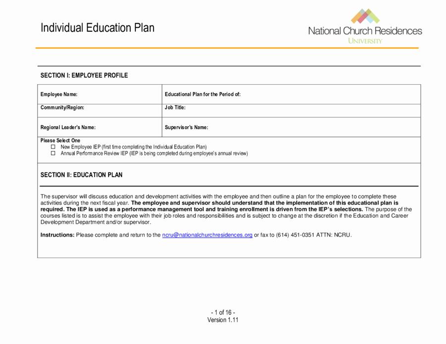 Individual Learning Plan Template Beautiful 2019 Individual Education Plan Fillable Printable Pdf