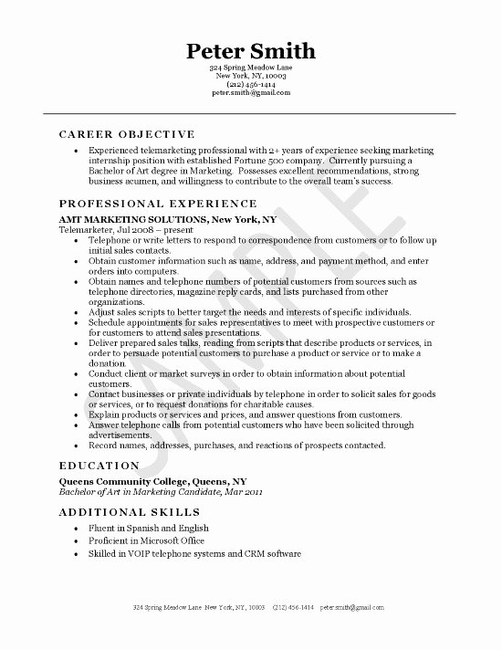 Inside Sales Cover Letter Beautiful Telemarketer Resume Example