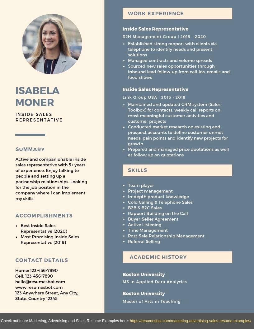 inside sales representative resume example