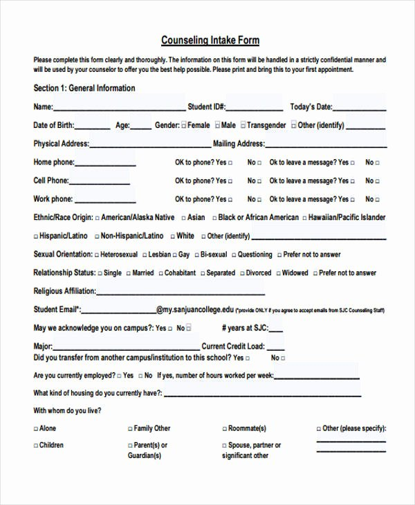Intake form Template Word Beautiful Free 47 Counseling form Examples