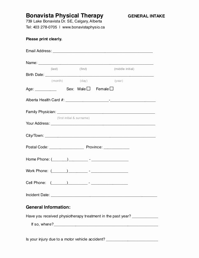 Intake form Template Word New Calgary Physiotherapy General Intake form