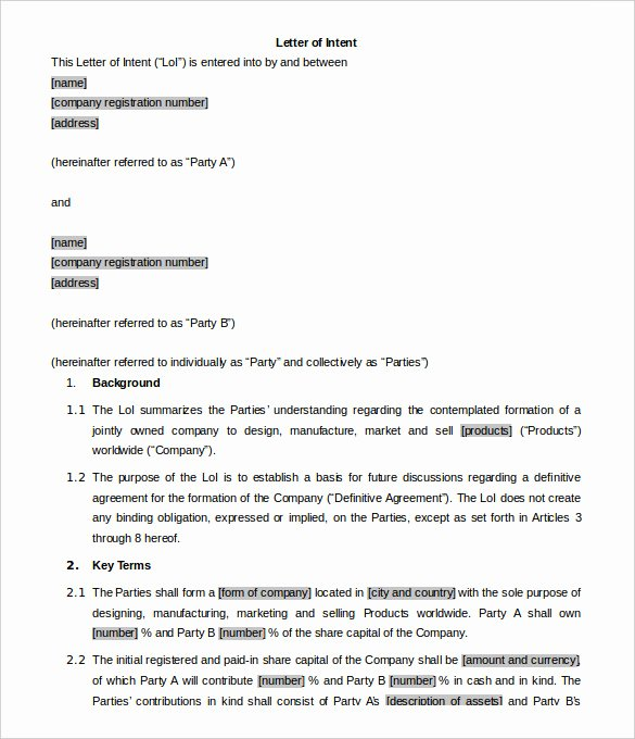 Intent to Sell form Lovely 7 Business Letter Of Intent Word Pdf