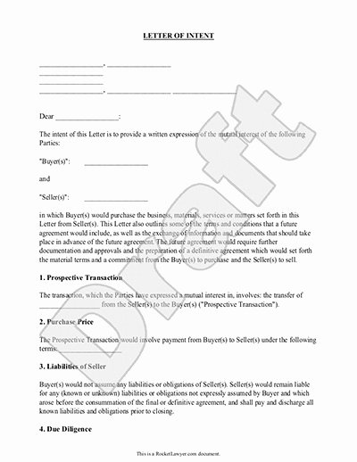 Intent to Sell form New Letter Intent Template