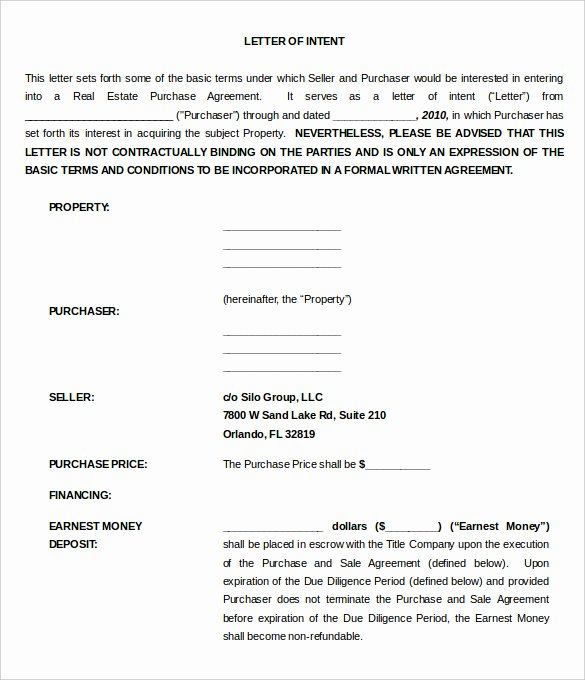 Intent to Sell form Unique 11 Real Estate Letter Of Intent Templates Pdf Doc