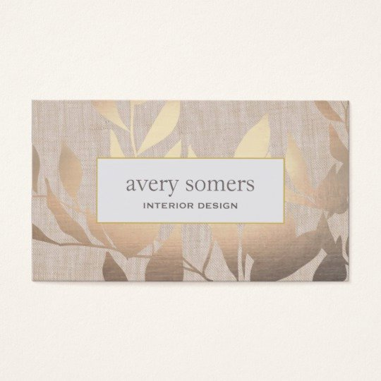 Interior Design Business Card Lovely Elegant Gold Leaves Modern Interior Design Beige Business