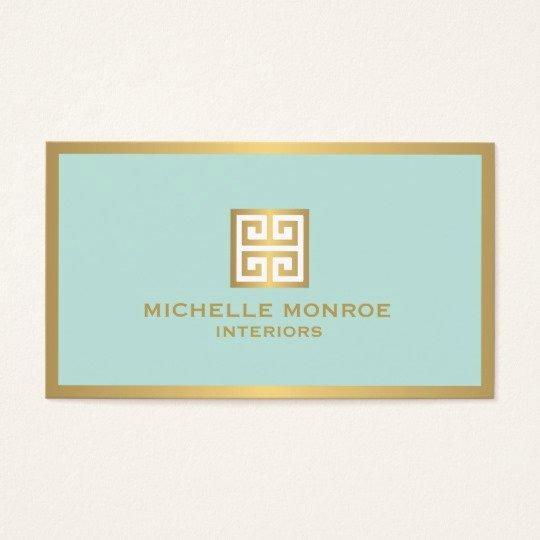 Interior Design Business Cards Elegant Elegant Gold Greek Key On Mint Interior Designer Business Card