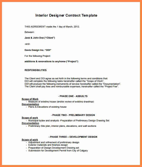 Interior Design Contract Template Awesome 5 Interior Design Letter Of Agreement Template