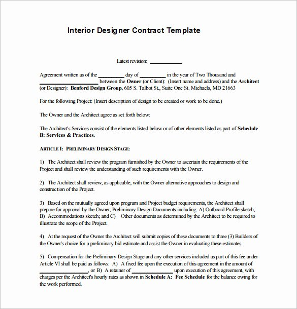 Interior Design Contract Template Awesome 7 Interior Designer Contract Templates Word Pages Pdf Google Docs