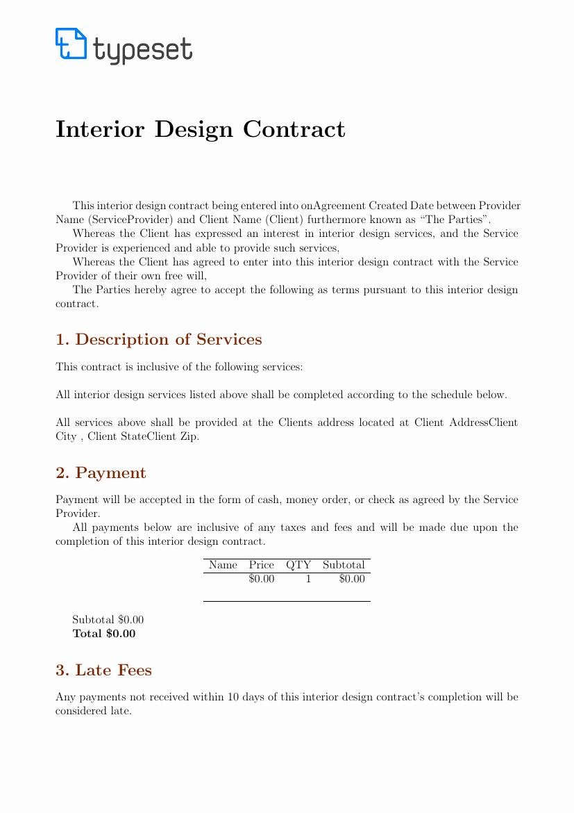 Interior Design Contract Template Best Of Contracts Interior Design Contract Template Template