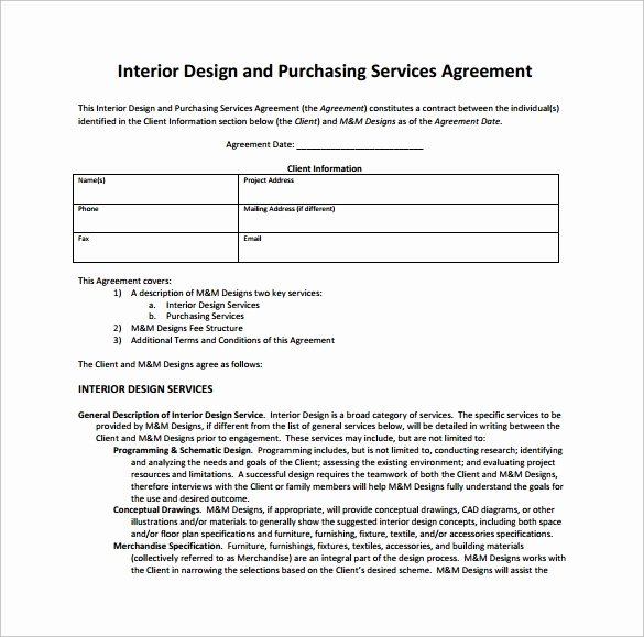 Interior Design Letter Of Agreement Awesome Interior Design Contract Template 12 Download Documents In Pdf Word Google Docs