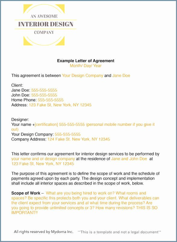 Interior Design Letter Of Agreement Best Of How to Write An Interior Design Letter Of Agreement or Interior Design Contract Mydoma Studio