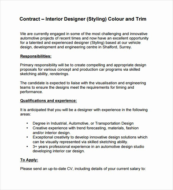 Interior Design Letter Of Agreement Elegant Interior Design Contract Template 12 Download Documents In Pdf Word Google Docs