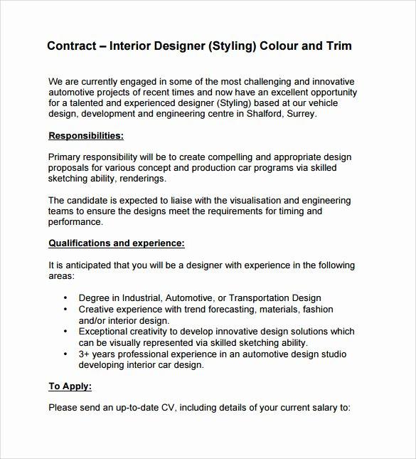 Interior Design Letter Of Agreement Elegant Interior Design Contract Template 12 Download Documents In Pdf Word Google Docs