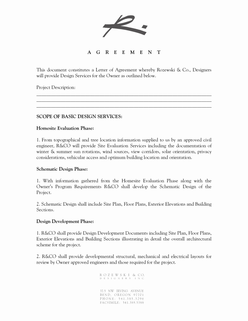 Interior Design Letter Of Agreement Elegant Interior Design Letter Of Agreement Template