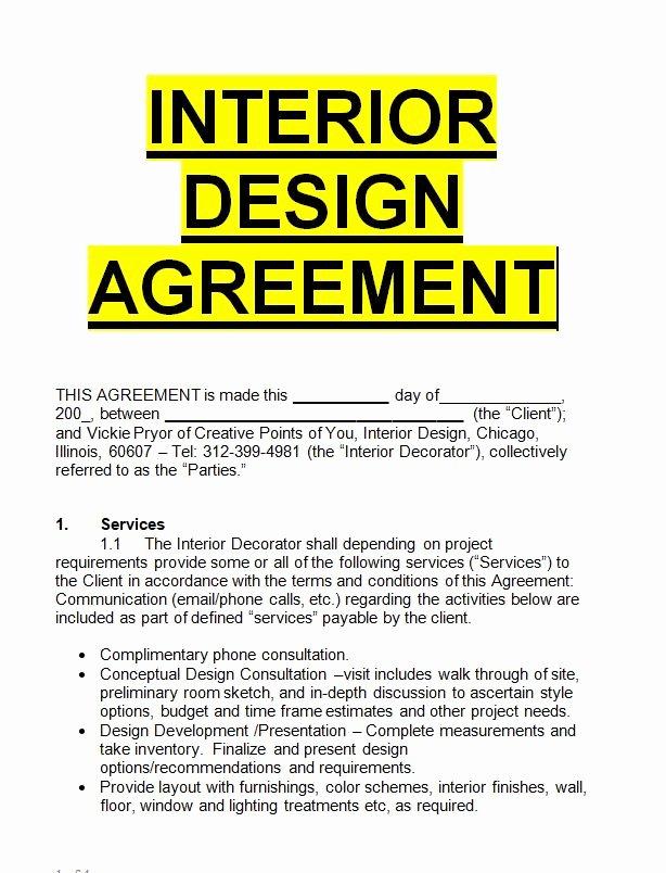Interior Design Letter Of Agreement Fresh Interior Design Agreement Template Sample Letters for Free