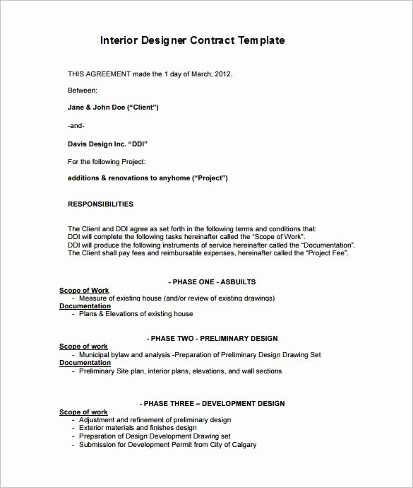 Interior Design Proposal Sample Pdf Elegant 7 Interior Designer Contract Templates Word Pages Pdf