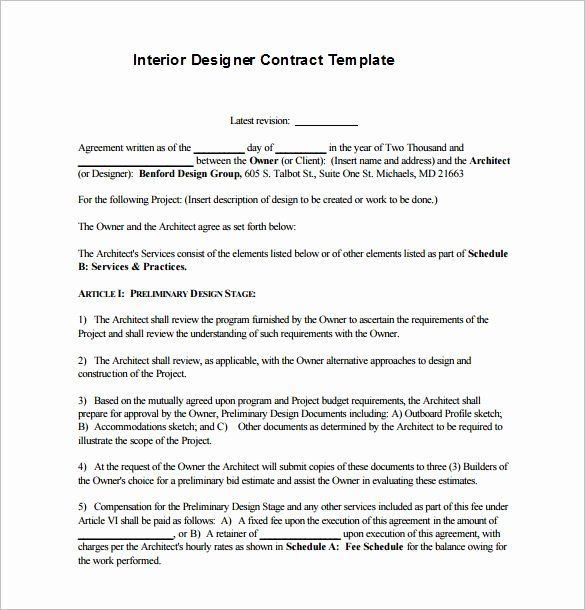 Interior Design Proposal Sample Pdf Inspirational 6 Interior Designer Contract Templates – Free Word Pdf