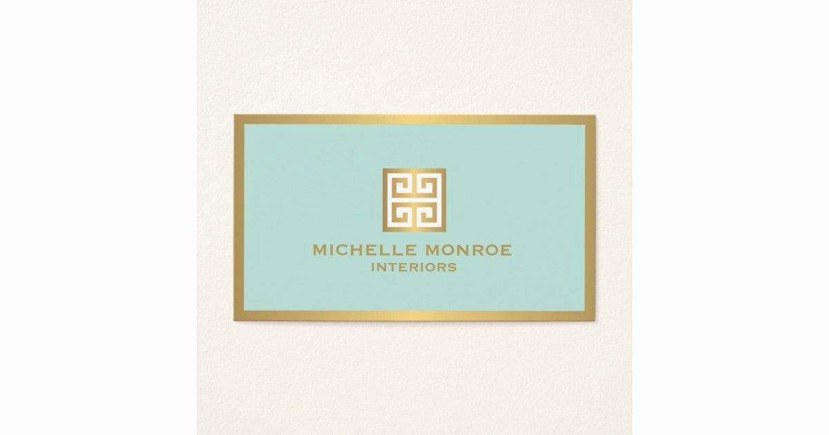 Interior Designer Business Card Lovely Elegant Gold Greek Key On Mint Interior Designer Business Card