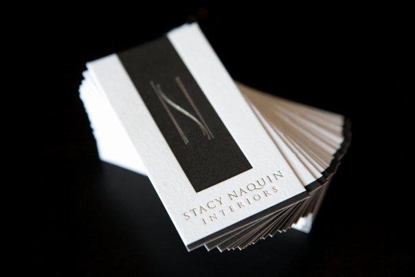 "Interior Designer Business Card New Interior Designer Stacy Naquin's Understated ""bling"" Letterpress Business Cards"