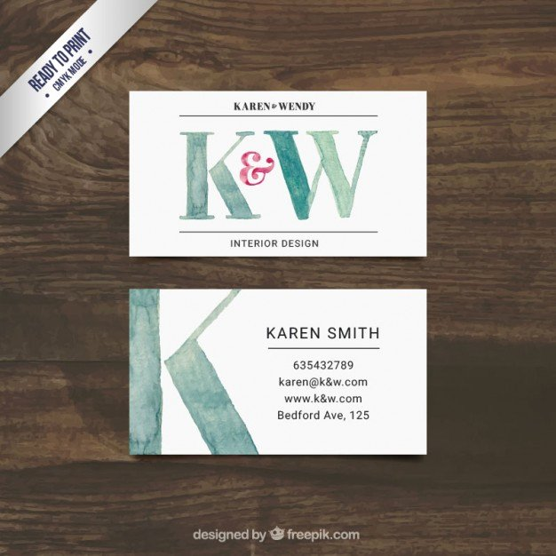 Interior Designer Business Cards Fresh Hand Painted Interior Design Business Card Vector