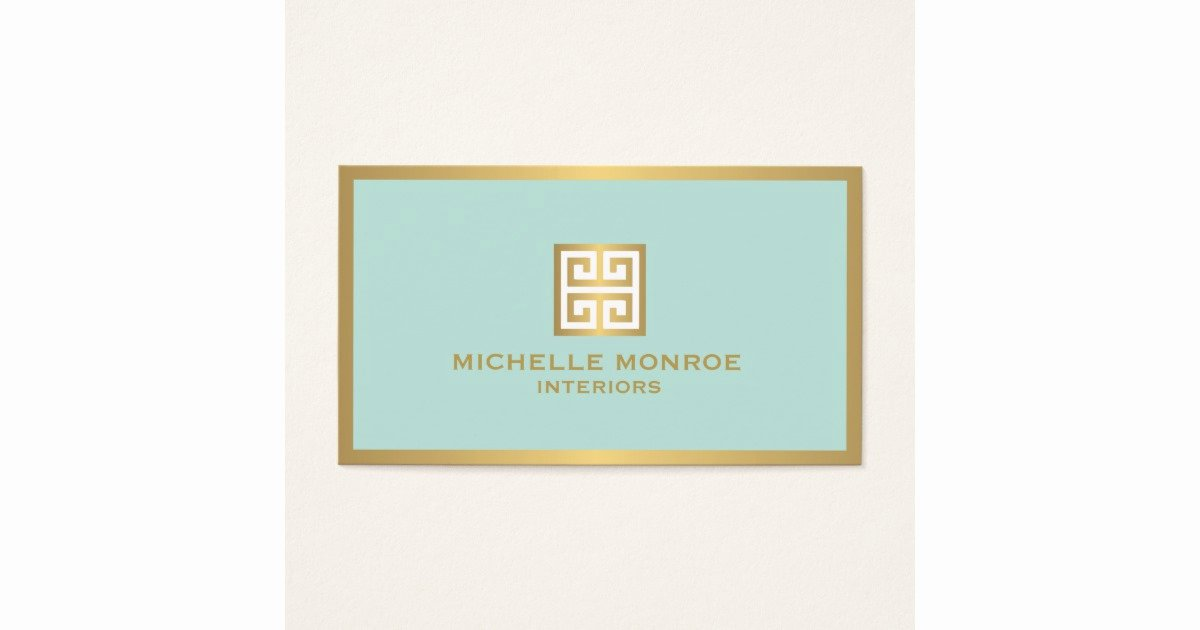 Interior Designer Business Cards Inspirational Elegant Gold Greek Key On Mint Interior Designer Business Card