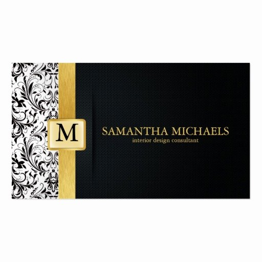 Interior Designers Business Cards Lovely Damask Monogram Interior Design Business Cards