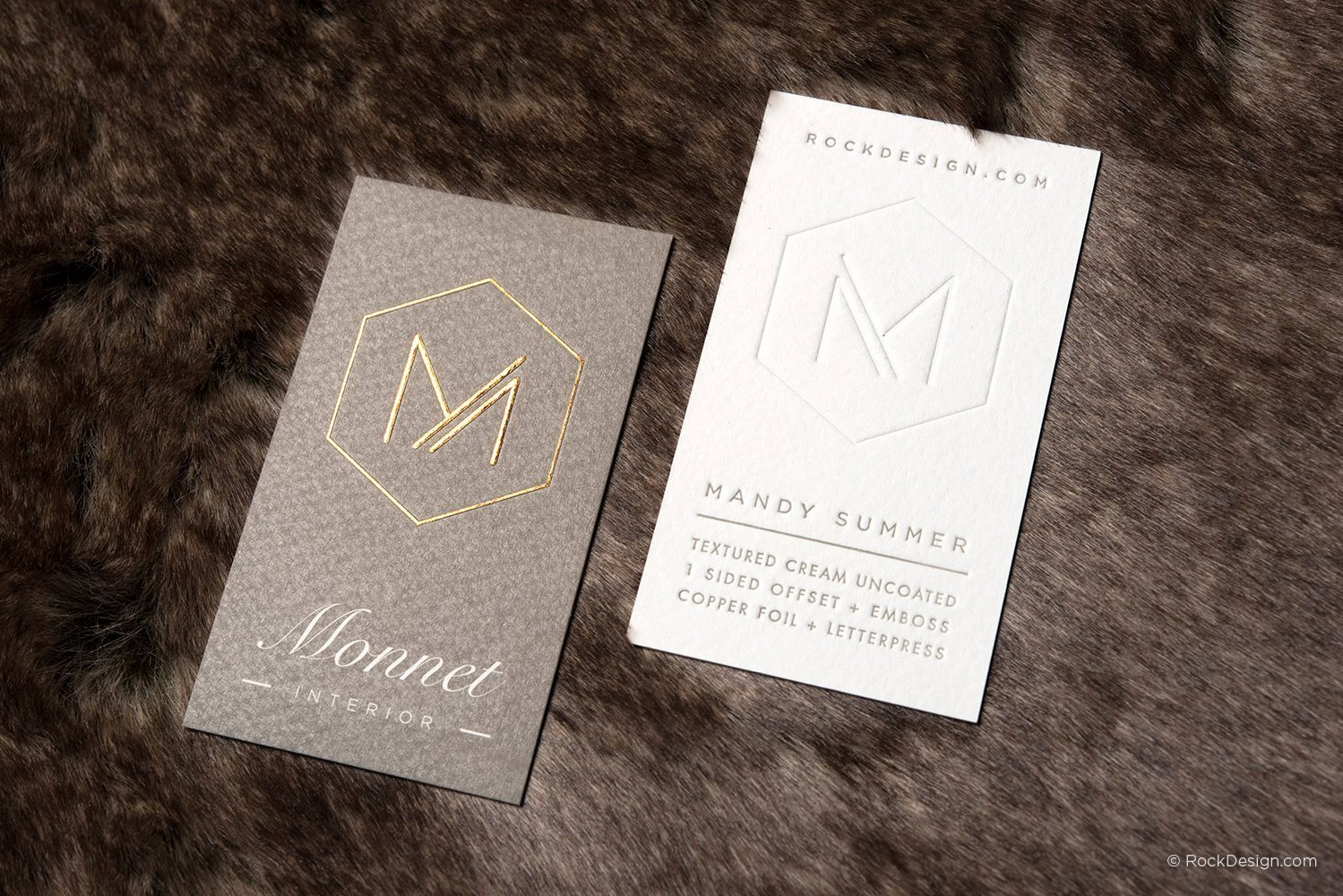 Interior Designers Business Cards Luxury Interior Designer Template On Textured Stock with Emboss and Copper Foil– Monnet Interior