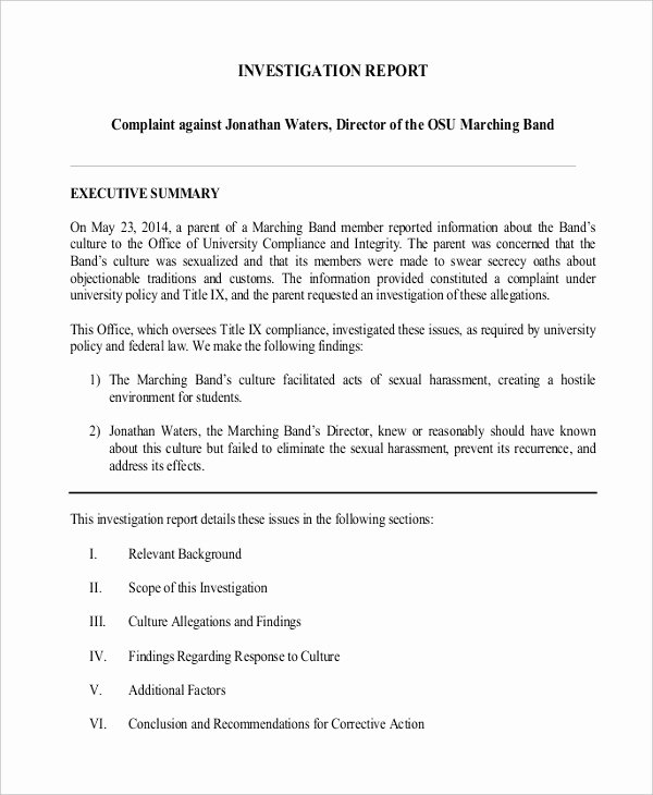 Internal Investigation Report Template Inspirational Report Template – 15 Free Word Pdf Documents Download