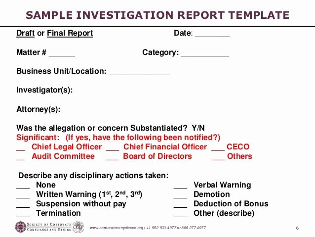 Internal Investigation Report Template Unique Investigations Workshop Part 5 Preparing the Investigation Report 2…