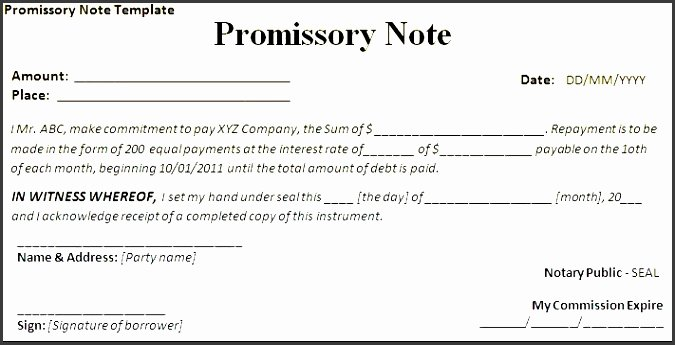 International Promissory Note Template Awesome 7 Promissory Note form Template Sampletemplatess Sampletemplatess