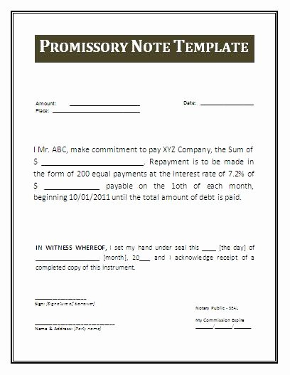 International Promissory Note Template Best Of Free Promissory Note Template
