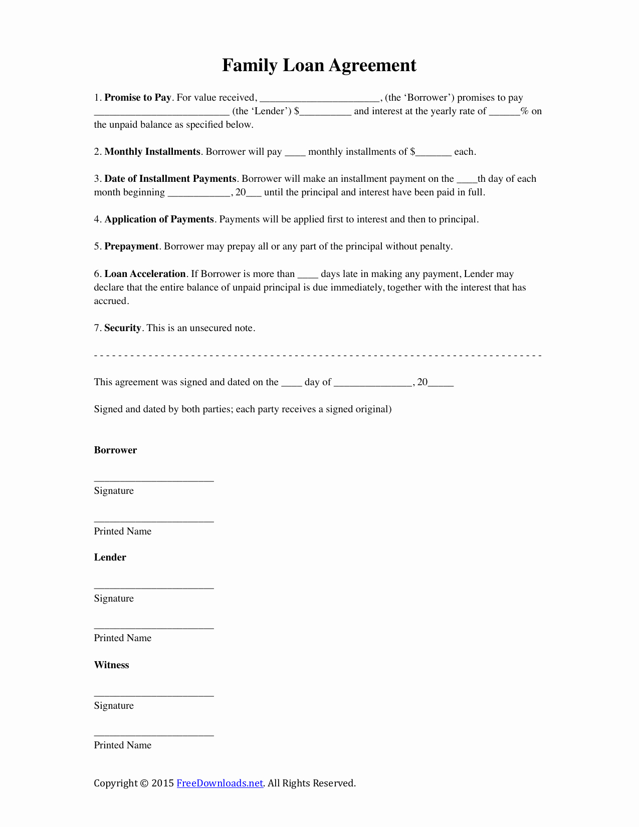 International Promissory Note Template Elegant Download Family Loan Agreement Template Pdf Rtf Word