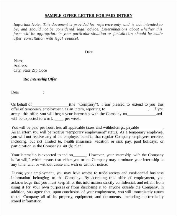 Internship Letter From Employer Elegant 8 Internship Fer Letter Templates Pdf Doc