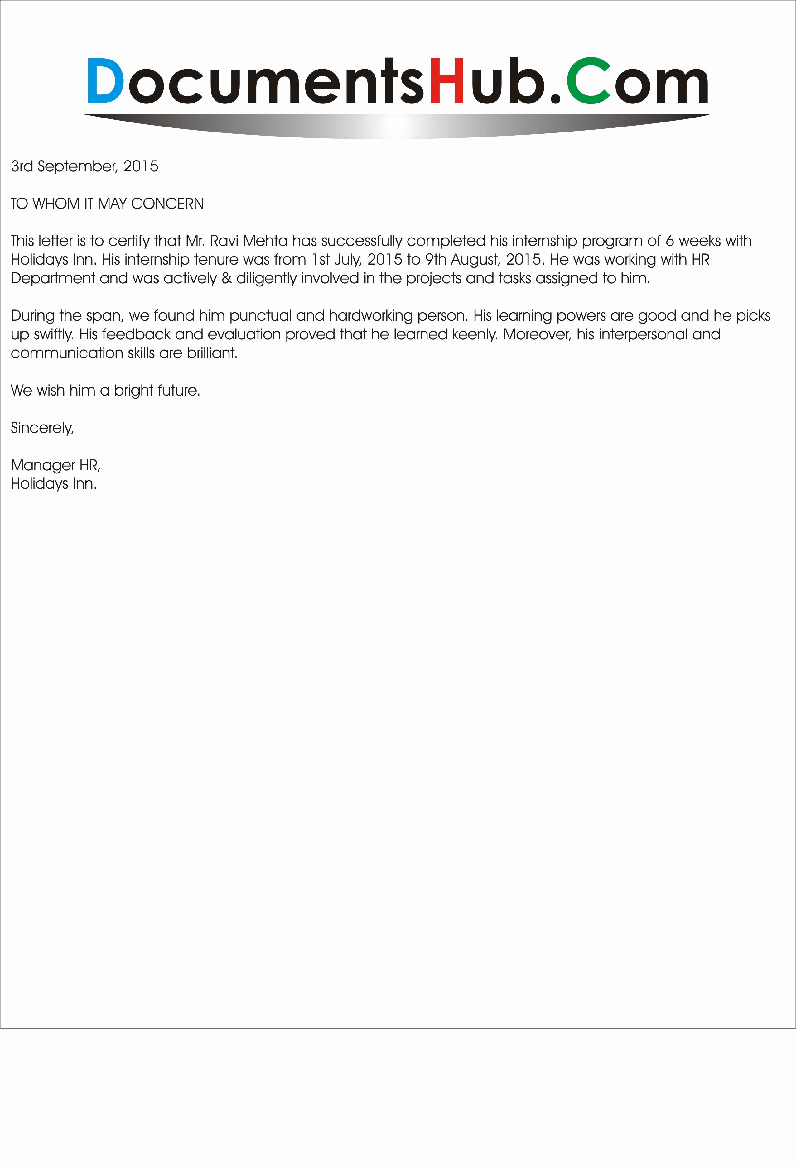 Internship Letter From Employer Elegant Experience Letter for Internship