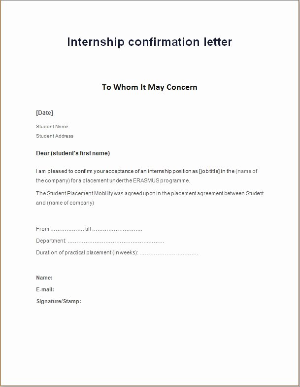 Internship Letter From Employer Luxury Internship Confirmation Letter