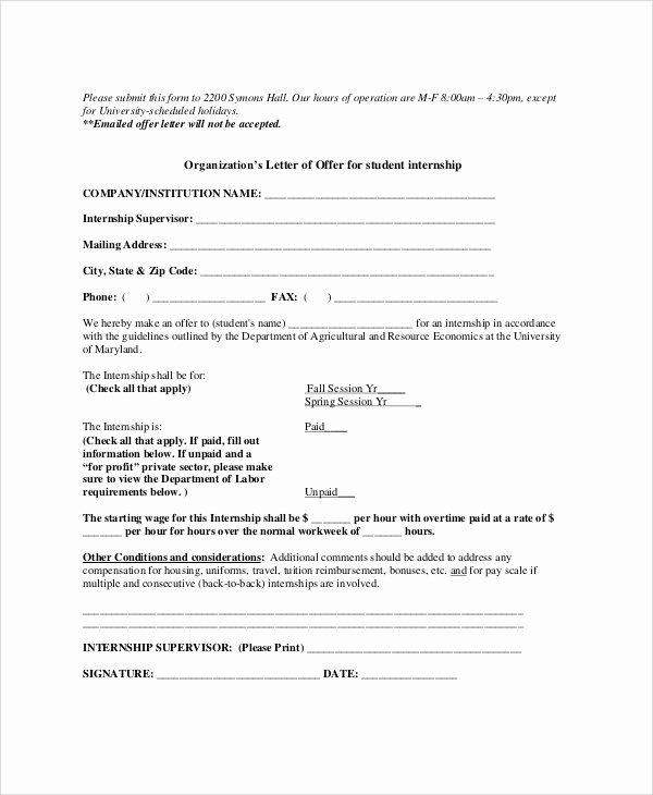 Internship Letter From Employer Unique Internship Offer Letter