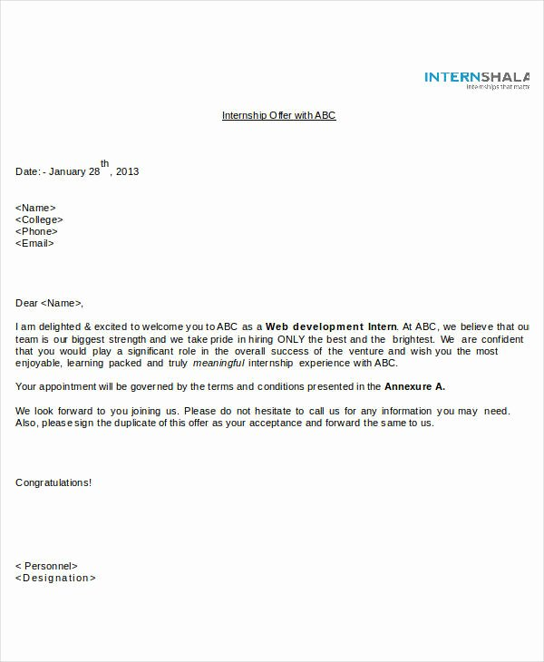 Internship Offer Letter Template Awesome Fer Letter Templates In Doc 46 Free Word Pdf Documents Download
