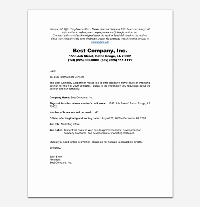 Internship Offer Letter Template Elegant Internship Appointment Letter 17 Letter Samples & formats