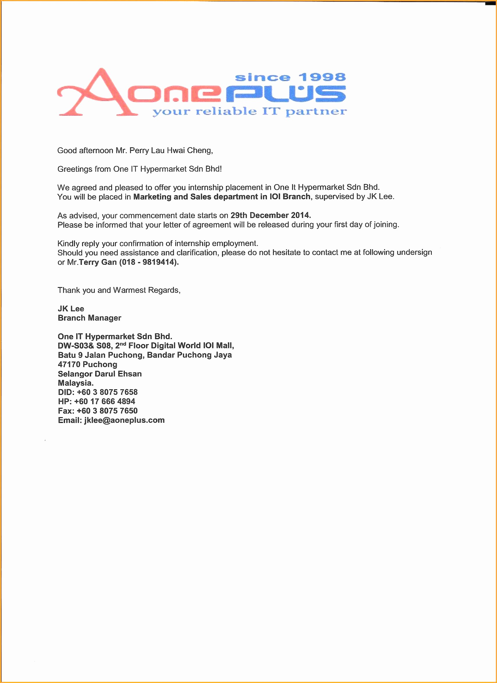 Internship Offer Letter Template Fresh 15 Internship Letter From Pany