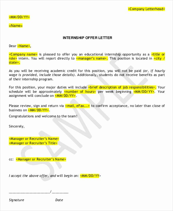 Internship Offer Letter Template Inspirational 9 Internship Appointment Letter Templates Free Sample Example format Download