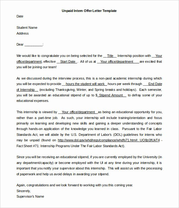 Internship Offer Letter Template New 31 Fer Letter Templates – Free Word Pdf format Download