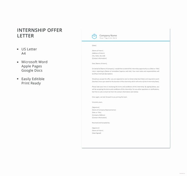 Internship Offer Letter Template New 8 Internship Fer Letter Templates Pdf Doc