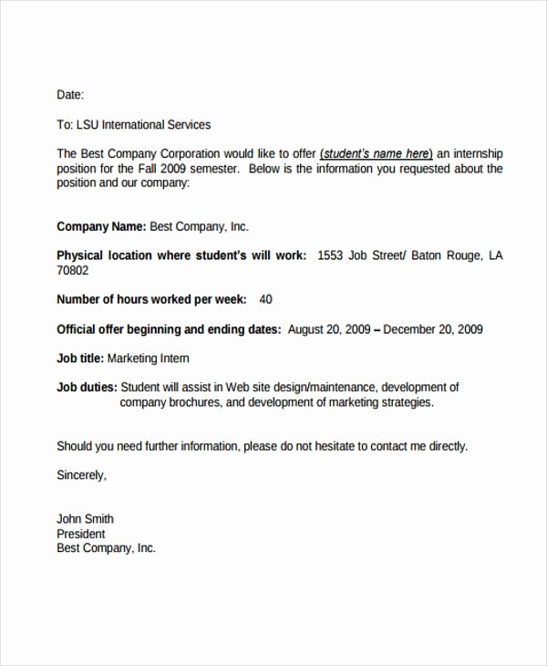 Internship Offer Letter Template New 8 Internship Fer Letters Free Samples Examples format Download